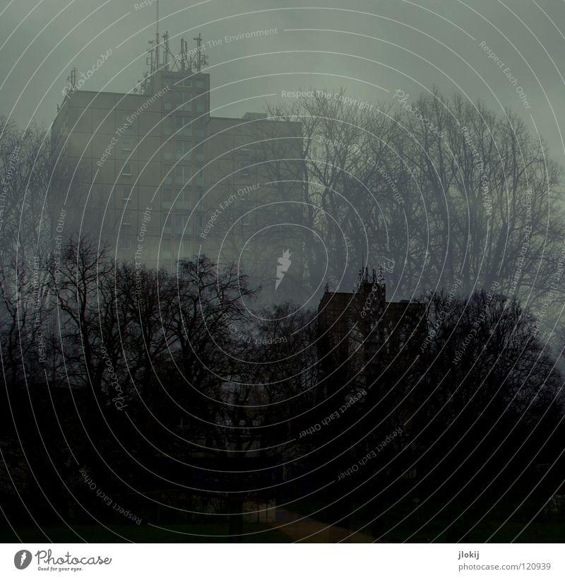 Spooky Doppelbelichtung Hochhaus Leipzig dunkel Abend Wolken Antenne Etage Balkon Fenster Beton Haus Gebäude Baum Vordergrund Hintergrundbild Stadt geisterhaft