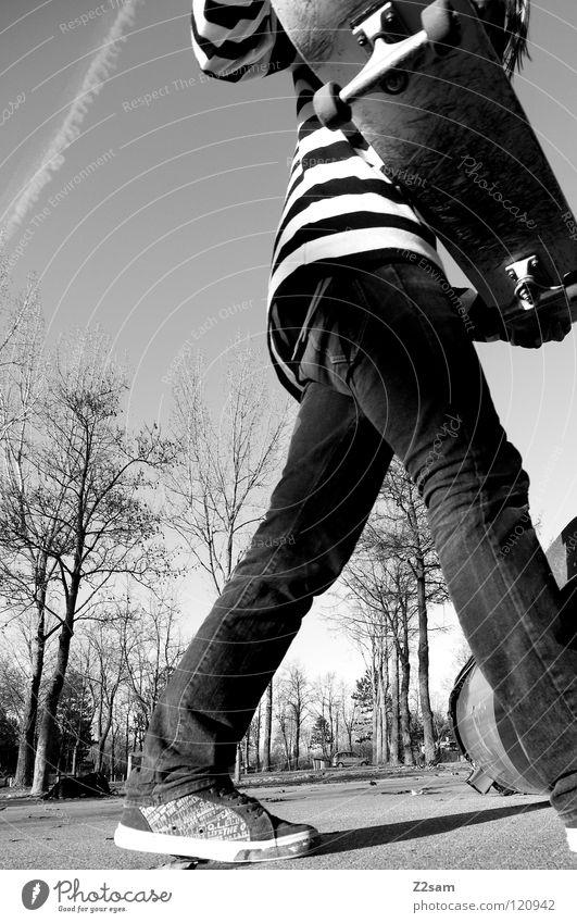 when passing by Mann Jugendliche Baum Sonne Sport oben Bewegung Holz Beine Zufriedenheit Beleuchtung gehen laufen Beton Aktion Jeanshose
