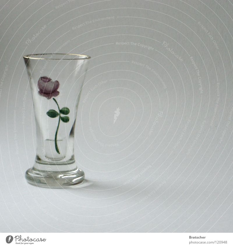 *** schluck *** Blume Rose Anemonen Blüte Vase Cognac Vodka bitter Likör bemalt Kostbarkeit Antiquität Stillleben Am Rand Handwerk Glasbläser lecker