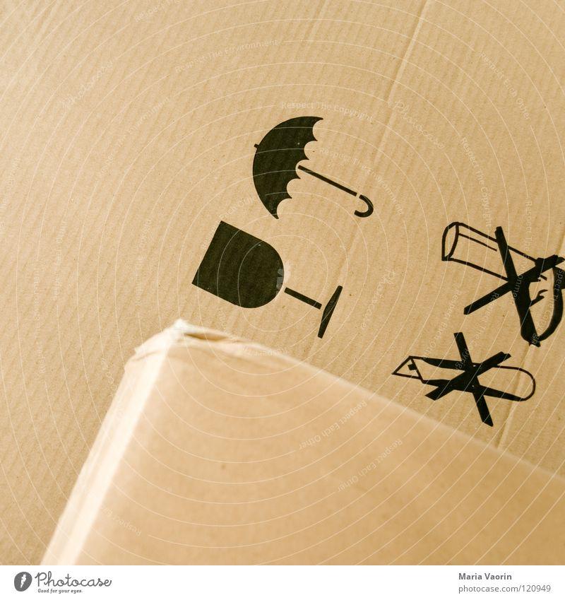 Faszination Faltschachtel Umzugskarton Karton Papier Pappschachtel Kiste nass zerbrechlich Dienstleistungsgewerbe Warnhinweis Warnschild Umzug (Wohnungswechsel)