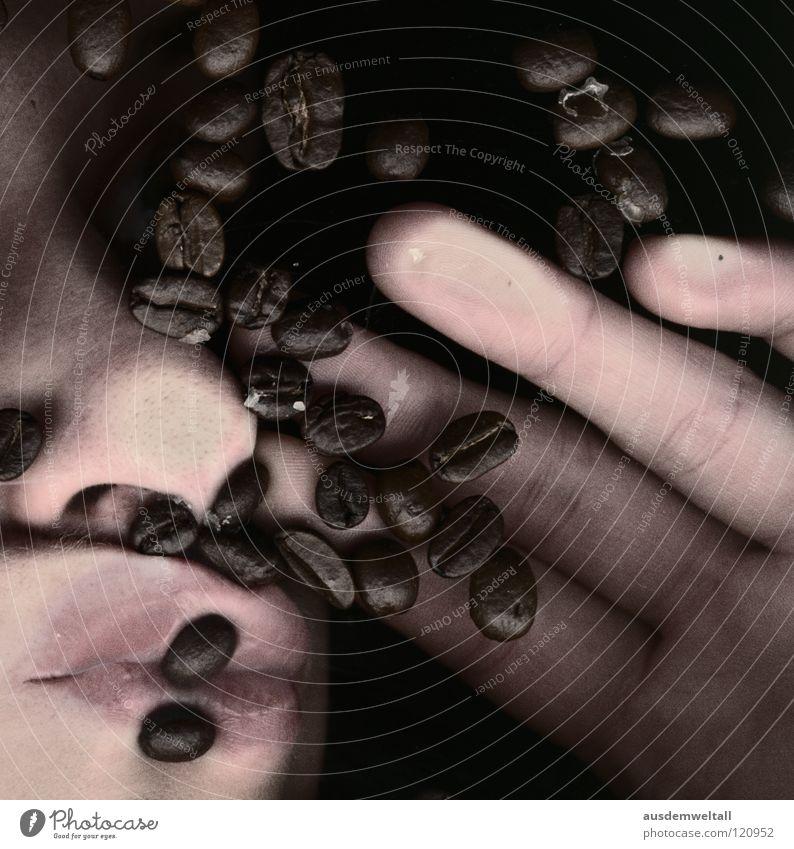 Koffeiiiiiiiiiiiin Hand Mund Nase Finger Kaffee dumm Langeweile wach Bohnen Abhängigkeit Hülsenfrüchte Gesicht Koffein