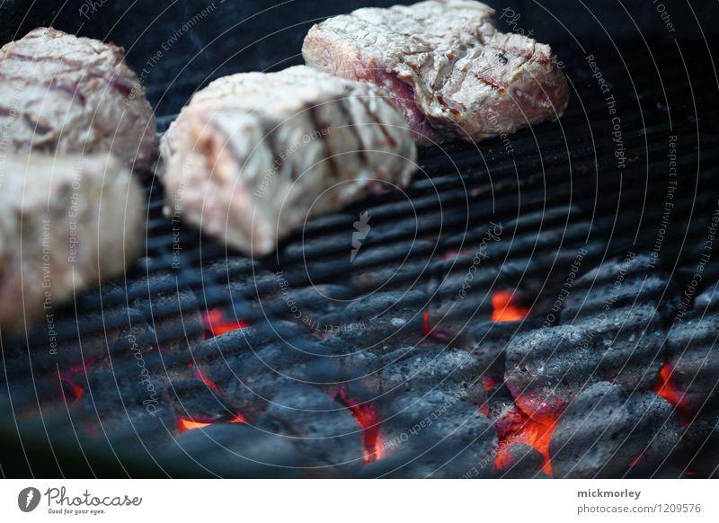 Heiße Kohlen unterm Rost Lebensmittel Fleisch Steak Rindfleisch rosa Grillen Grillerei Holzkohle Glut heiß Grillrost zart heißglut weißglut bruzeln frisch