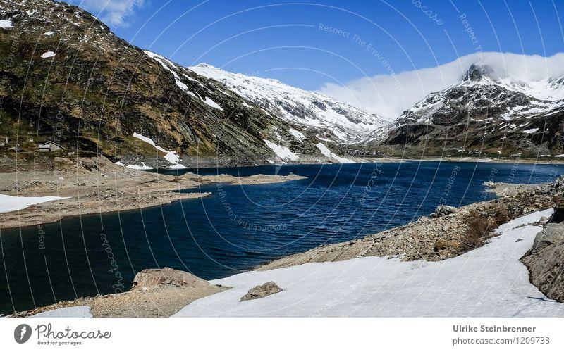 Naturbad 1 Himmel Ferien & Urlaub & Reisen blau Wasser weiß Landschaft Wolken kalt Berge u. Gebirge Umwelt natürlich Schnee See Felsen Tourismus