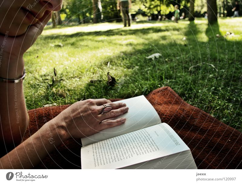 Eintauchen Baum Buch Feierabend Ferien & Urlaub & Reisen Frau Freizeit & Hobby Frühling grün Park Hand Junge Frau lesen Licht Liegewiese Nachmittag Roman ruhig