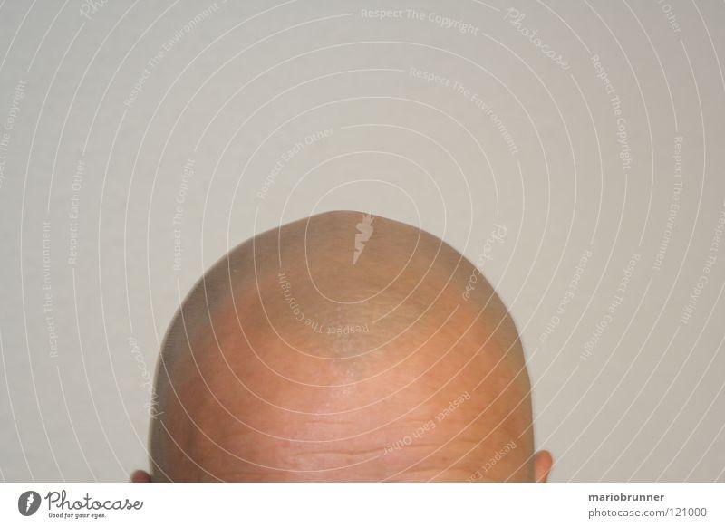 Der Herr Maier Glatze grau Stirn Mann rasiert Kopf Haut keine Haare