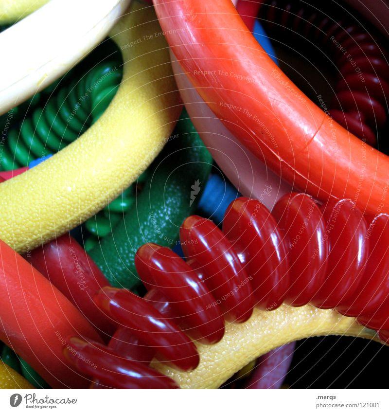 Seepferdchen blau grün rot gelb Spielen orange Kindheit Kreis Schwimmbad Dinge tauchen durcheinander