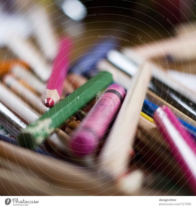 Kreatives Chaos Schreibstift Farbstift Kunst Gemälde mehrfarbig rosa grün gebraucht durcheinander chaotisch unordentlich Leben Artist live Freizeit & Hobby