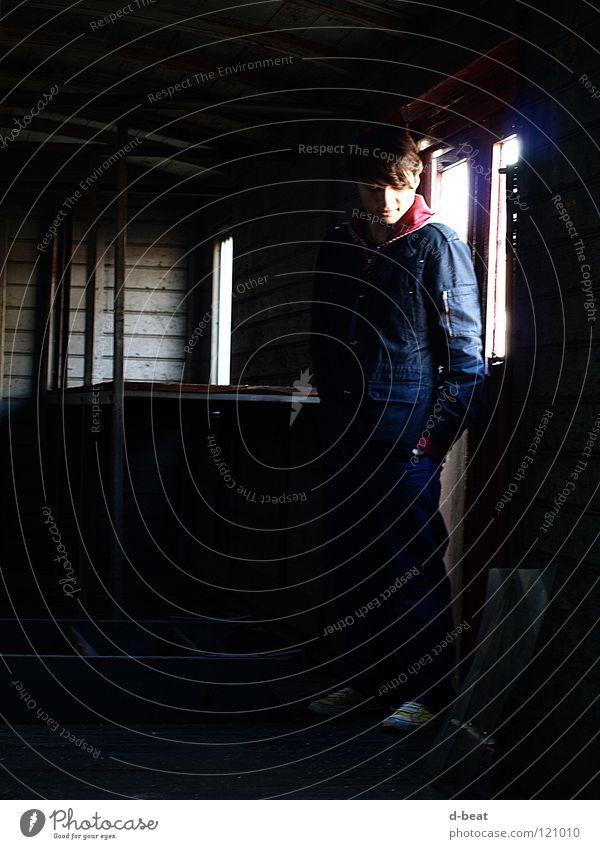 by oneself Mann Einsamkeit dunkel Eisenbahn Industrie Typ
