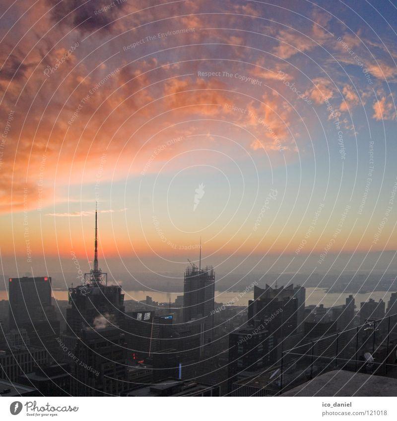sunset IV schön Himmel Wolken Straße Verkehr Energiewirtschaft Elektrizität USA Aussicht Amerika Skyline Stress Stadtzentrum New York City Manhattan