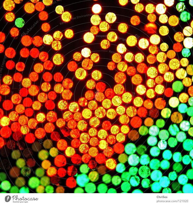 Lichtspiel_06 Lampe Glasfaserlampe grün rot gelb frontal Vogelperspektive schwarz dunkel Gegenteil faszinierend Lichterkette Silvester u. Neujahr Nordwalde