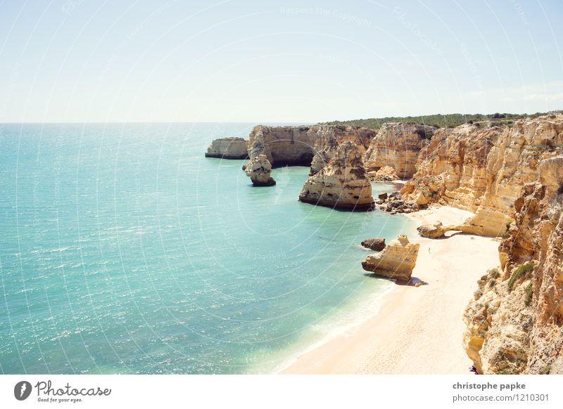 Typisch Algarve Ferien & Urlaub & Reisen Sommer Sonnenbad Strand Meer Wolkenloser Himmel Schönes Wetter Felsen Wellen Küste Bucht Portugal heiß hell Felsküste
