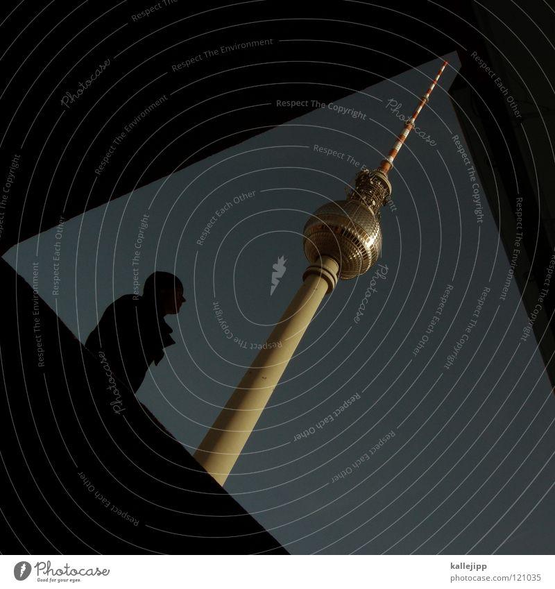 denkmalschutz Mensch Himmel Mann Stadt Hand Wolken Haus Fenster Berge u. Gebirge Architektur Gefühle Berlin Kunst grau fliegen See