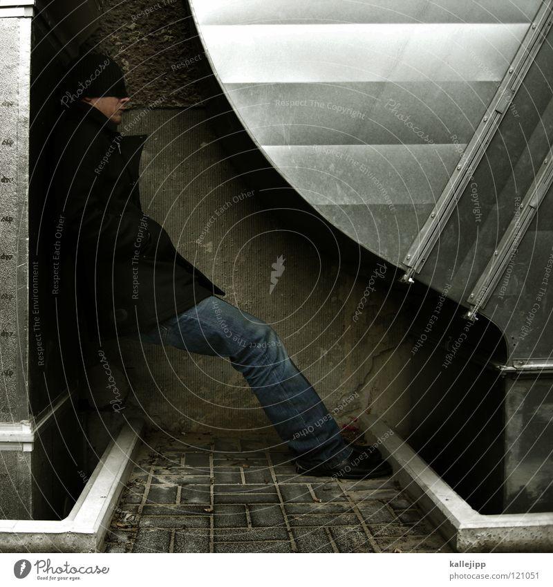 plätzchen backen Mensch Mann Architektur Beine Metall Fuß Klima schlafen rund Körperhaltung Jeanshose Mütze Jacke Stahl Mantel Wange