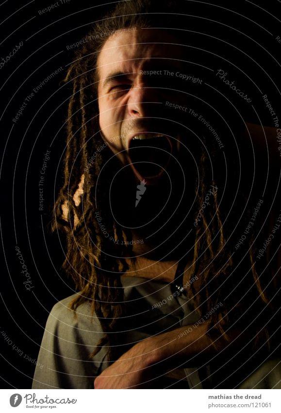 ---> DON'T-PANIC <-- Mensch Mann Gesicht schwarz dunkel sprechen Gefühle Haare & Frisuren Kopf Denken Mund hell Kraft Angst lustig Haut