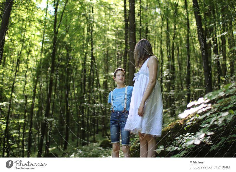 Das war`s? Mensch Kind Natur blau grün schön Sommer weiß Mädchen Wald Berge u. Gebirge sprechen Junge Zusammensein Felsen Freundschaft