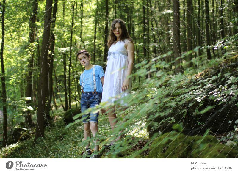 Sehen Mensch Kind blau grün Sommer weiß Mädchen Wald feminin Junge Zusammensein Freundschaft Park maskulin träumen Zufriedenheit
