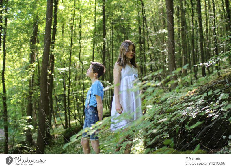 Zeitlos Mädchen Junge Geschwister Bruder Schwester Kindheit 2 Mensch 8-13 Jahre Natur Sommer Baum Wald Felsen beobachten stehen warten Zusammensein