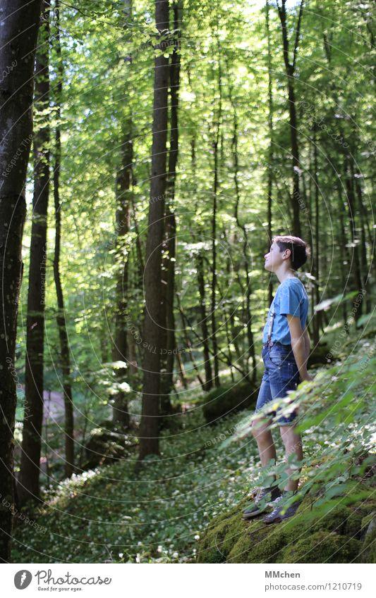Wie komm´ ich da jetzt hin? Kind Natur grün Sommer Sonne Blume ruhig Wald Berge u. Gebirge Junge Denken träumen Zufriedenheit wandern Kindheit stehen