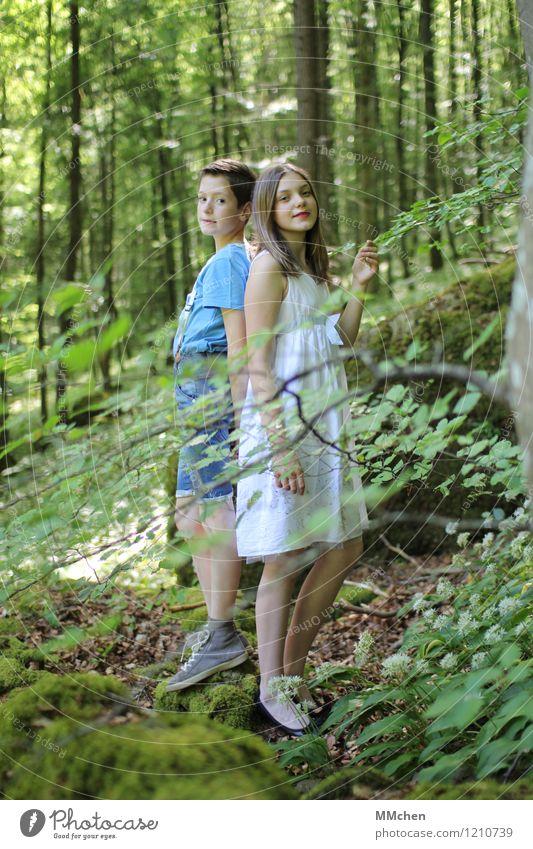 time`s forever frozen still Mensch Kind Natur grün Sommer Baum Freude Mädchen Wald feminin Junge Glück Zusammensein Freundschaft maskulin Zufriedenheit