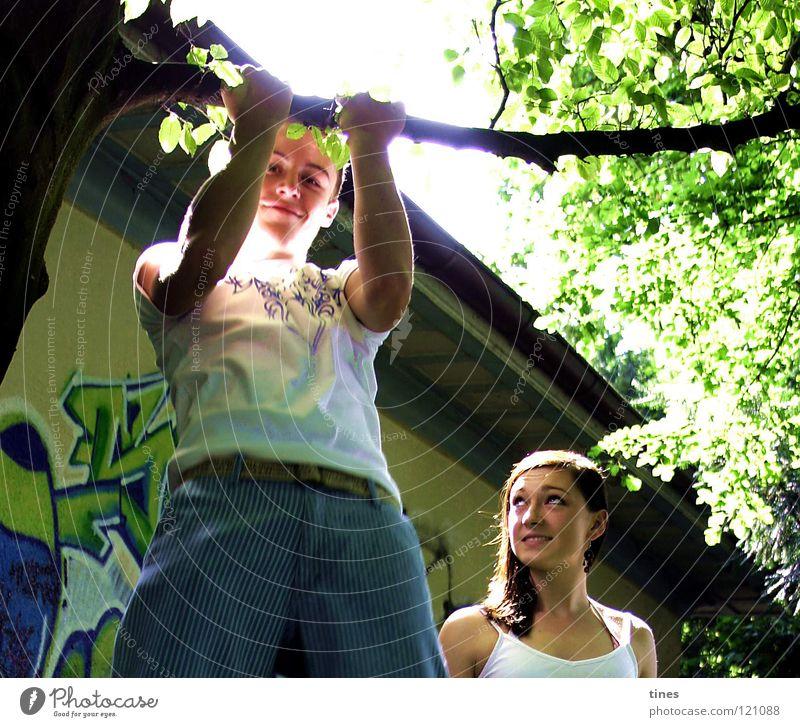 Sommer im Park Baum unsicher Bewunderung Geschwister Kraft Jugendliche Grafitti Coolness Muskulatur