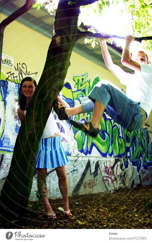nichts zu tun Wand Freizeit & Hobby Kraft Graffitti Klettern Sonne Freude lachen