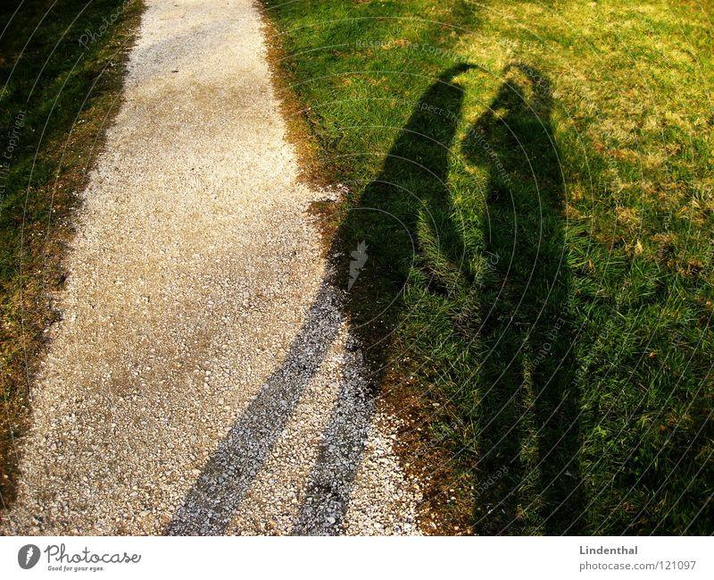Shadow of Love Mann Wiese Wege & Pfade Paar Herz paarweise Kies Ehe Symbole & Metaphern