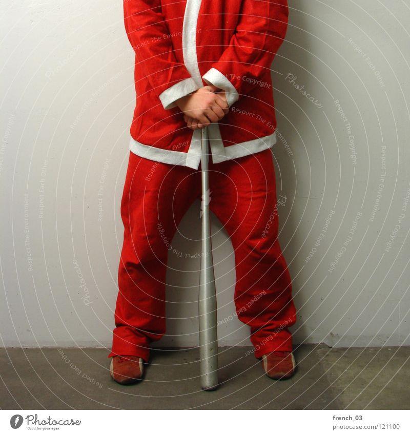 Kopfloser Weihnachtsmann II Mensch Mann Weihnachten & Advent weiß Hand rot Freude Wand Mauer Beine grau Feste & Feiern Zusammensein Arme Bekleidung Geschenk