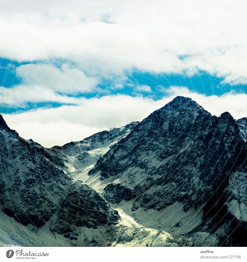 Klimawandel II Himmel weiß Wolken Winter Berge u. Gebirge Schnee Spitze Klima Gipfel Alpen Klimawandel Schneeflocke massiv Hochgebirge