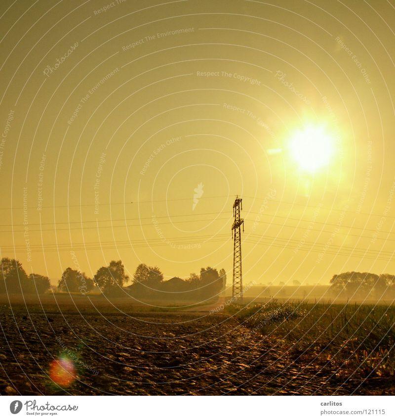 Fehlfarbiges Strommast-Quadrat Hautfalten unverträglich Sonnenaufgang Gegenlicht blenden Morgennebel diffus Weißabgleich Gelbstich Physik Freundlichkeit