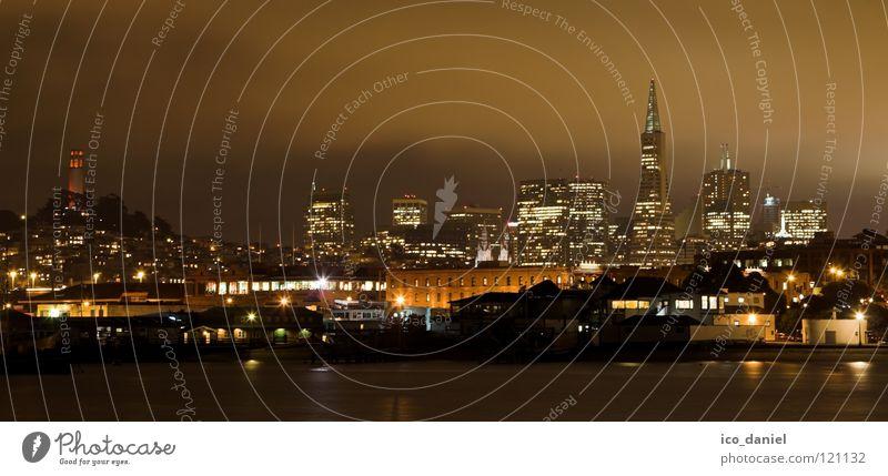 san-francisco@night Wasser schön Stadt ruhig Haus schwarz Wolken Lampe dunkel Wasserfahrzeug orange Energiewirtschaft USA Tourismus Amerika Skyline