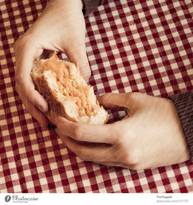 Friss die Hälfte! Hand weiß rot Ernährung Essen Finger Tisch Kochen & Garen & Backen retro Küche fangen festhalten Appetit & Hunger Frühstück Brot Fett