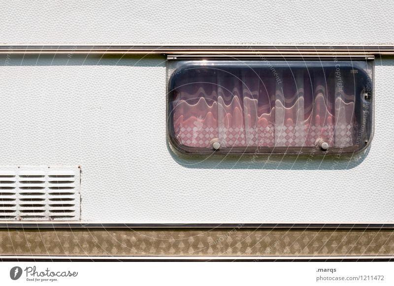Camping Ferien & Urlaub & Reisen Tourismus Sommer Sommerurlaub Wohnwagen Erholung einfach Freiheit Freizeit & Hobby Fenster Vorhang Campingplatz Farbfoto
