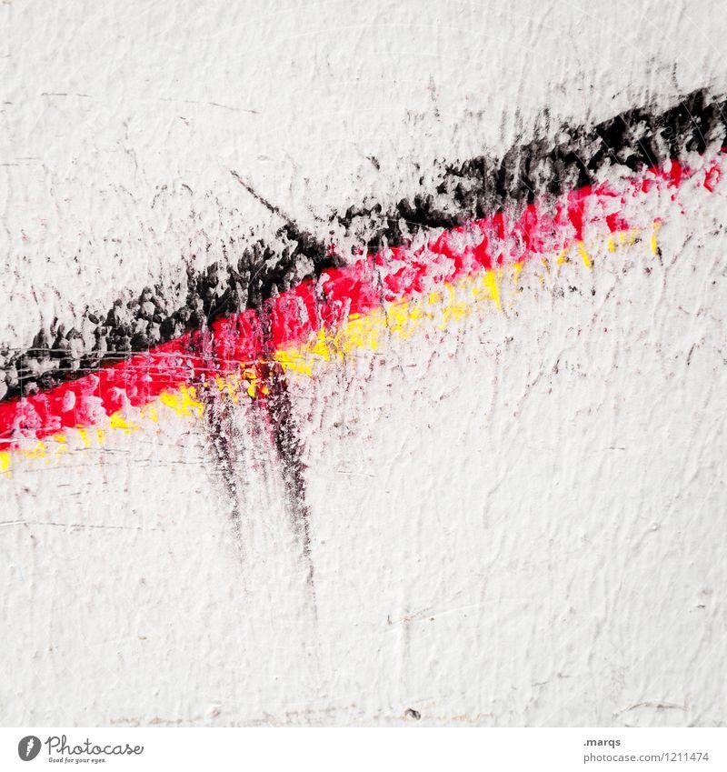 Aufschwung Farbe weiß rot schwarz gelb Wand Mauer außergewöhnlich Linie Deutschland Zeichen Streifen Wandel & Veränderung Deutsche Flagge Fahne Wirtschaft