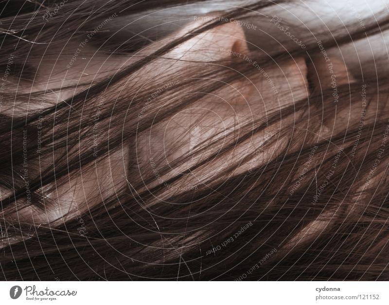 haarig I Frau Mensch Natur schön schwarz ruhig feminin Leben Gefühle Kopf Bewegung Haare & Frisuren Stil Traurigkeit träumen Kunst