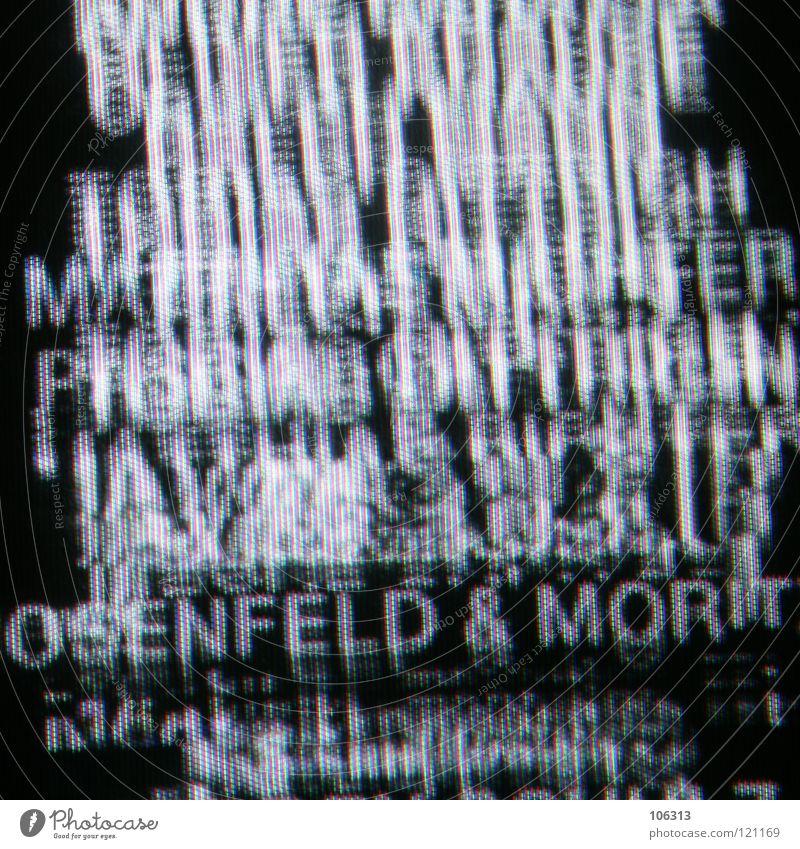 OSENFELD & MORIT Abspann Text Typographie Buchstaben schwarz weiß Bildschirm Bewusstseinsstörung Fernseher Bildpunkt RGB grün rot Kunst außergewöhnlich Muster