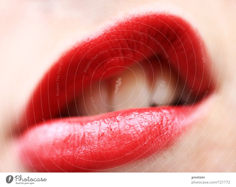 Lips Frau schön feminin Mund Zähne Lippenstift