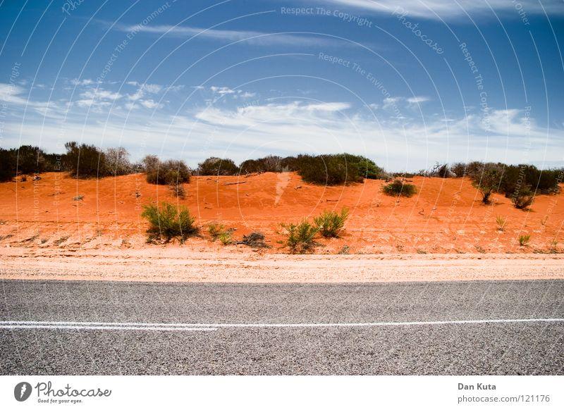 Himmel und Sand aus tralien Himmel blau rot Freude Ferien & Urlaub & Reisen Wolken Einsamkeit Straße Freiheit grau träumen Wege & Pfade Wärme Sand Linie braun
