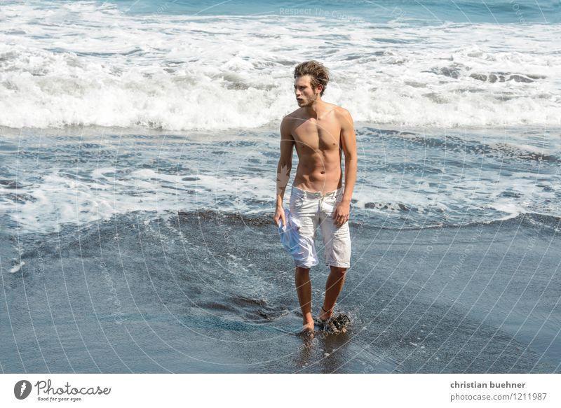 Beach Mensch Jugendliche nackt Sommer Erholung Meer Erotik Junger Mann Freude 18-30 Jahre Strand Erwachsene Bewegung Gesundheit Freiheit Freizeit & Hobby
