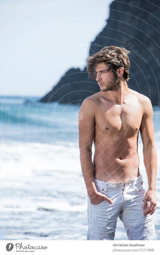 take a break Abenteuer Sommerurlaub Sonne Sonnenbad Strand Meer Junger Mann Jugendliche 1 Mensch 18-30 Jahre Erwachsene Horizont Wellen Insel Teneriffa Kanaren
