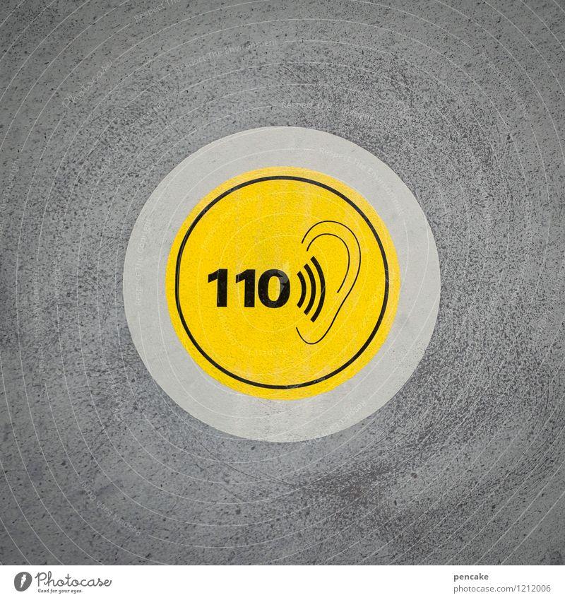 spreedorado   lauschangriff Fassade Zeichen Schilder & Markierungen Hinweisschild Warnschild bedrohlich nah gelb Ohr Lautstärke 110 F60 Spreewald Farbfoto