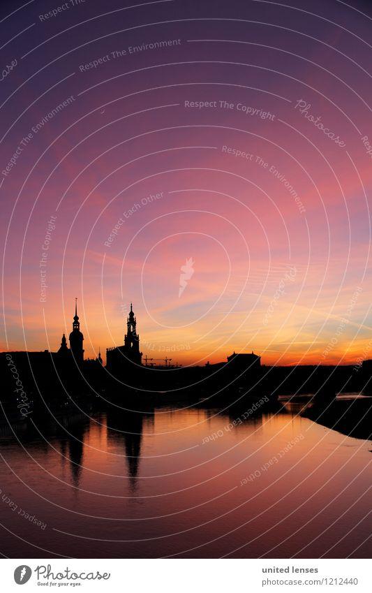 CG# Dresdner Skyline II Kunst ästhetisch Zufriedenheit Dresden Silhouette Himmel (Jenseits) Altstadt historisch Historische Bauten Reflexion & Spiegelung