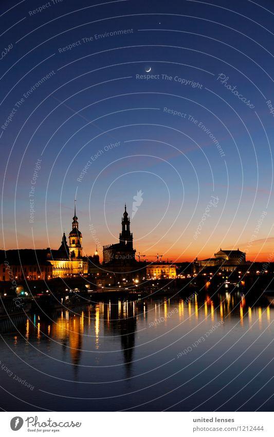 CG # Dresdner Skyline I Stadt Kunst Zufriedenheit ästhetisch Romantik historisch Fluss Abenddämmerung Sehenswürdigkeit Dresden Mond Schloss Städtereise Elbe