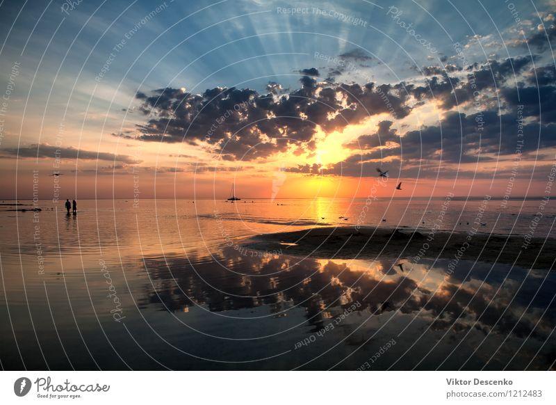 Paare, die auf den Strand auf dem Meer bei Sonnenuntergang gehen Frau Ferien & Urlaub & Reisen Mann Farbe Erholung rot Freude Mädchen Erwachsene Liebe Junge