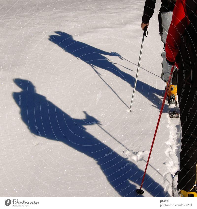 leichter Anstieg Sonne Winter Ferien & Urlaub & Reisen ruhig Schnee Berge u. Gebirge Wege & Pfade Wärme wandern gehen Aktion Skifahren Ziel Freizeit & Hobby Physik Skier