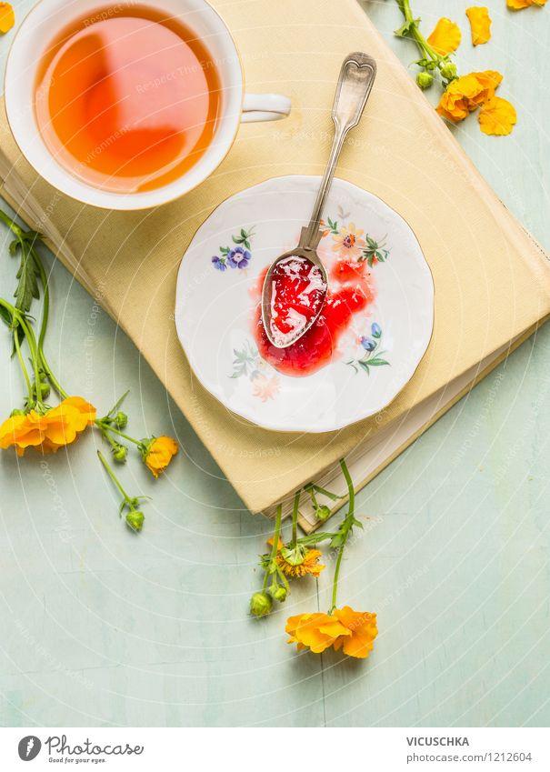 Frühstück am Wochenende Lebensmittel Marmelade Ernährung Bioprodukte Vegetarische Ernährung Diät Getränk Tee Geschirr Teller Tasse Löffel Lifestyle Stil Design