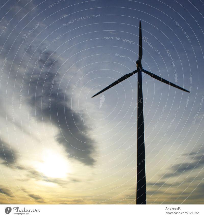 Windenergie Himmel Sonne Kraft Energiewirtschaft Elektrizität Technik & Technologie Windkraftanlage Abenddämmerung Umweltschutz Blauer Himmel Klimawandel Rotor