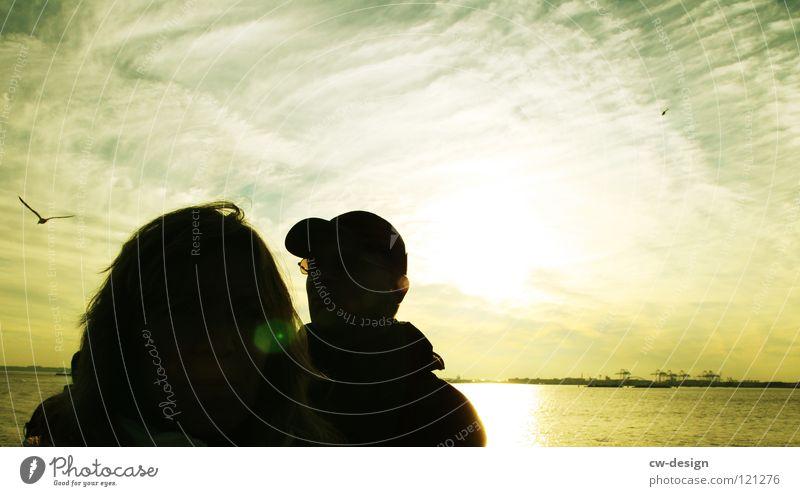 H E I M K E H R E R Frau Himmel Mann Natur Wasser Wolken gelb dunkel Küste Paar hell USA Aussicht Amerika Abenddämmerung Ehepaar