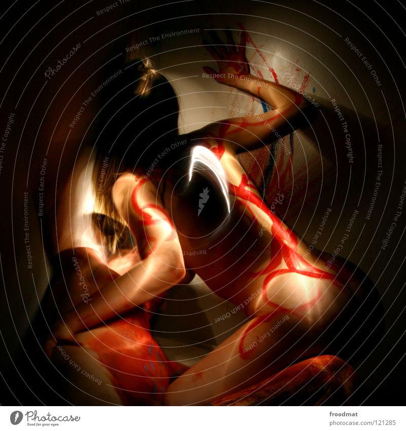 inteam Frau Jugendliche Mann schön Farbe Erotik Freude dunkel Erwachsene Liebe Gefühle Bewegung Spielen Glück Kunst Akt