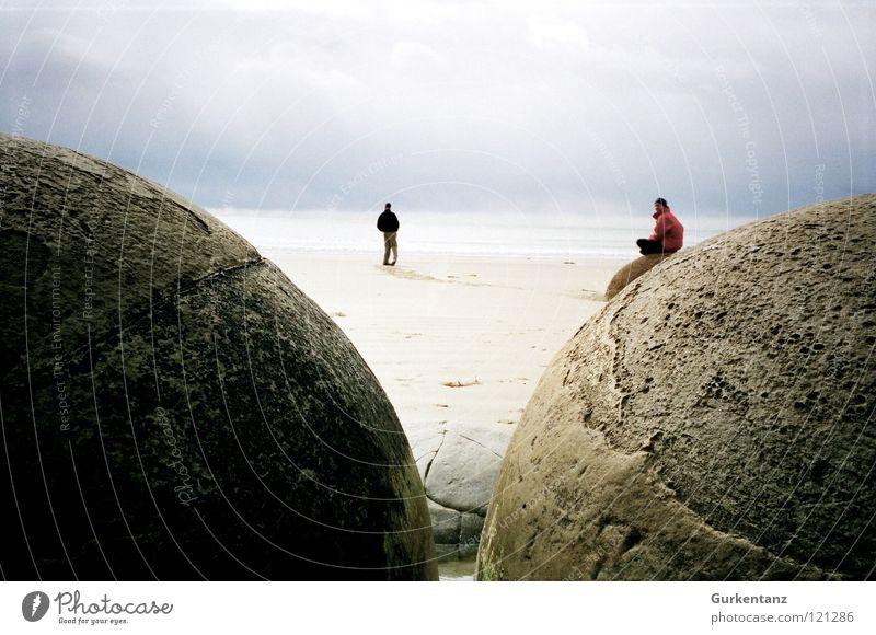 Die Eier von Satan Meer Strand Herbst Stein Regen Küste Wind Ball rund Neuseeland Mineralien Südinsel Moeraki Moeraki Boulder