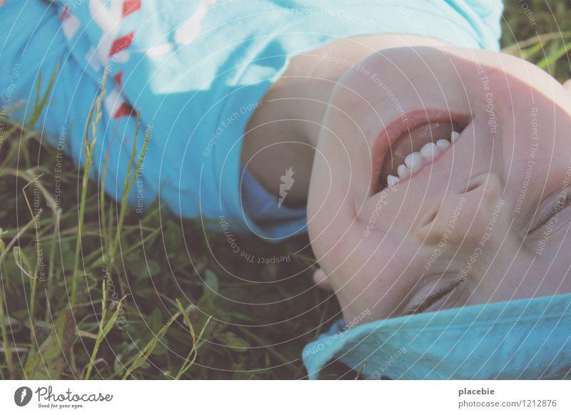 Sonne im Gesicht Kind blau Freude Liebe Wiese natürlich Gras Junge lustig Spielen Gesundheit Glück klein lachen träumen